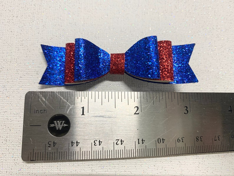 Mini 4th of July Glitter Hair Bow SetPigtail Bow Set