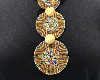 African Wire Beaded Necklace, Gold disc with multicoloured centre - Tribal necklace - African jewellery.