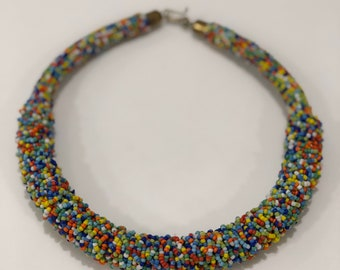 African Wire Beaded Ring Type Necklace, Multicoloured. Tribal Jewellery- African Jewellery.