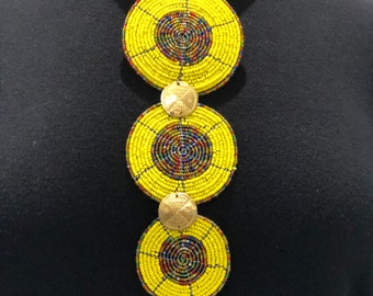 African Wire Beaded Necklace, Yellow beaded disc with multicoloured centre - Tribal necklace - African jewellery.