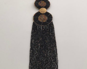 African Wire Beaded Necklace, Black, Gold and Multicoloured. Black and gold strung beads, black and gold beaded discs. African jewellery.
