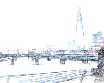 Artist at Work in London, Framed Print, Limited Edition, Photo, London, Tower Bridge, Photoart, The Shard, Blue