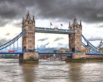 Tower Bridge Cartoon, Framed Print, Limited Edition, Photo, London, Photoart, Bold, Colourful, Cartoon