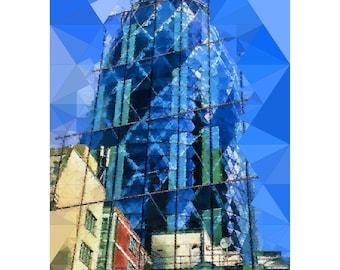 Reflected, Framed Print, Limited Edition, Photo, Photoart, Art, Print, London, Gherkin, Glass, Blue, Triangles
