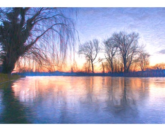 Wicksteed Winter Dusk, Framed Print, Limited Edition, Landscape Photography, Lake, KETTERING, Trees, Winter Morning, Home Decor, SUNSET
