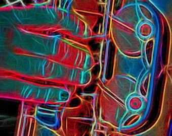 Saxophone Neon, Framed Print, Limited Edition, Saxophone, Art, Photo, Neon Colours,  Print, Home Decor, Photoart, Bright