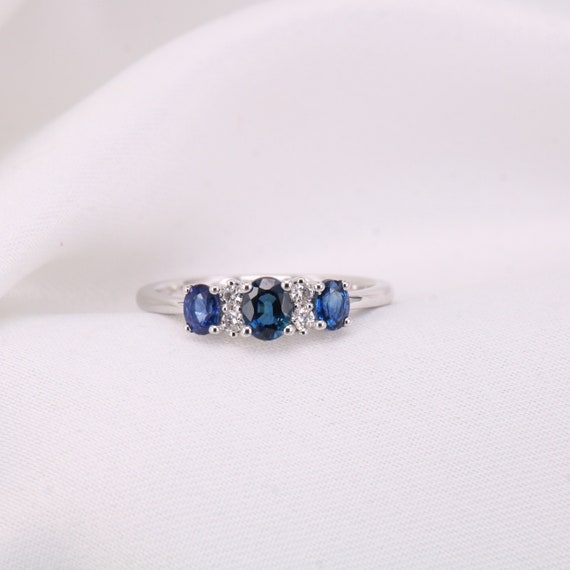 9ct vintage sapphire and white sapphire half eternity ring