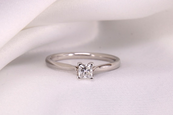 Solitaire Diamond Engagement Ring, Princess Cut Pl
