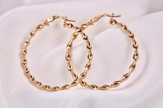 9ct Gold Twist Hoop Earrings,Vintage 9k Gold Hoop