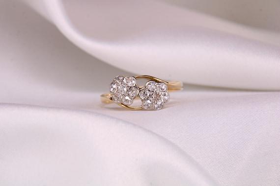 18ct Gold Diamond Daisy Ring,18k Yellow Gold,Twin