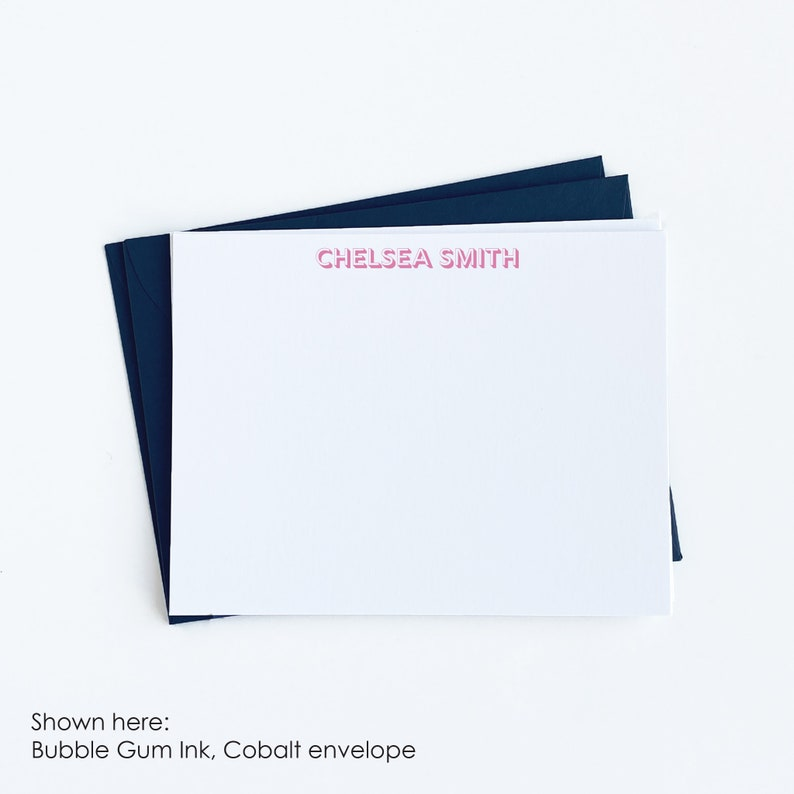 Great Wrapped Wedding Engagement Gift Custom Stationery in Bold Font Set of 12 Personalized Note Cards Personal or Business Stationary