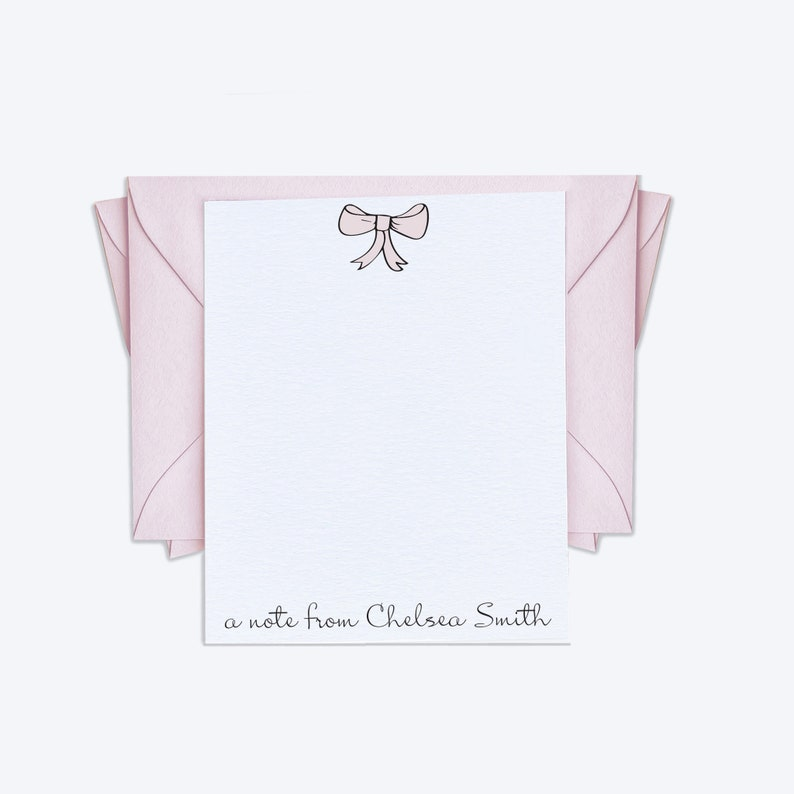 /'a note from/' Personal Stationary in Fun Font with Pastel Pink Envelopes Set of 12 Personalized Pink Bow Note Cards Custom Stationery