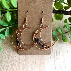 P H A S E \u2022 Crescent Moon-Shaped Copper Wire Earring Set