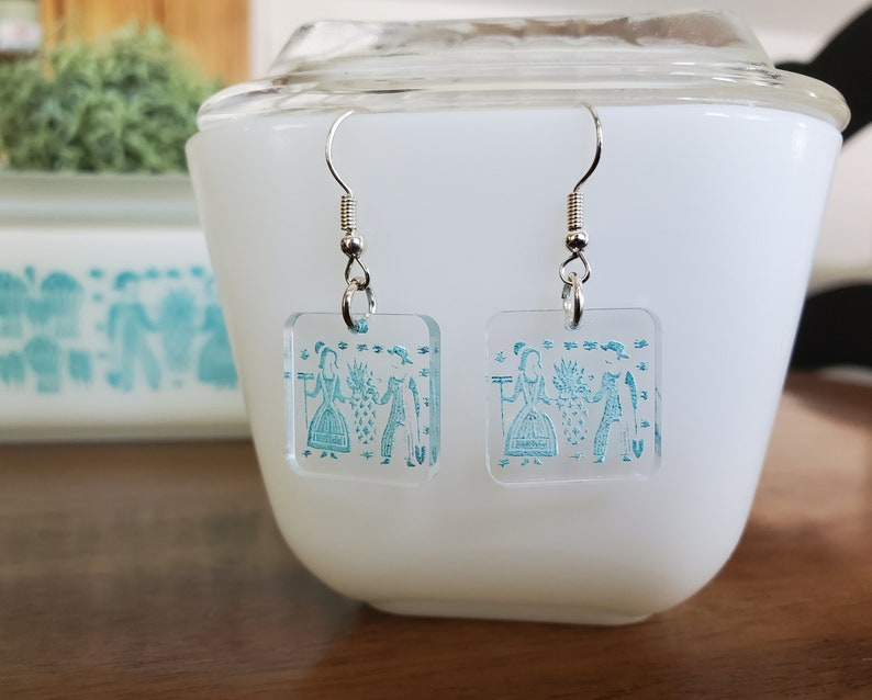 Pyrex Amish Butterprint Blue Inspired Earrings-Lady on the Left!