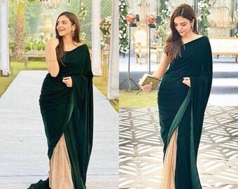 Velvet Blouse Bottle Green Velvet Saree Blouse With Ruffle Sleeves Made To Order Green Sari Blouse Bollywood Blouse Partywear Blouse