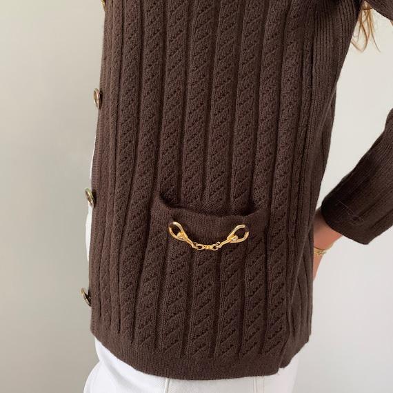 Celine Womens Vintage Brown Wool Cable Knit Cardig