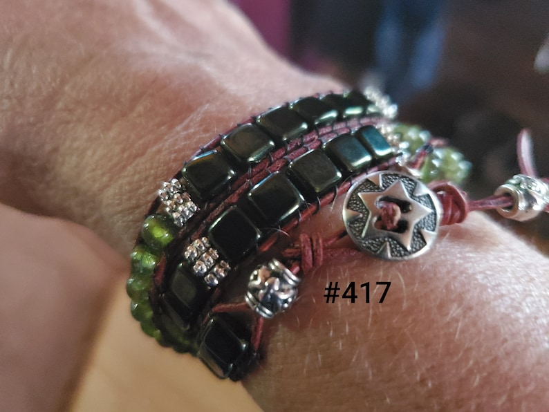 Triple Wrap Leather and Bead Bracelet
