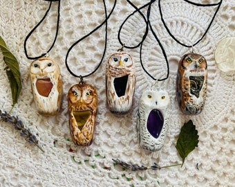 CHOOSE YOUR OWL! Custom Owl Statement Necklace with tumbled crystals and stones!