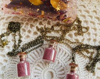 Crushed Rose Petal Bottle Necklace