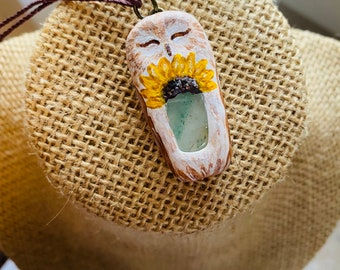Sunflower Owl with Aventurine