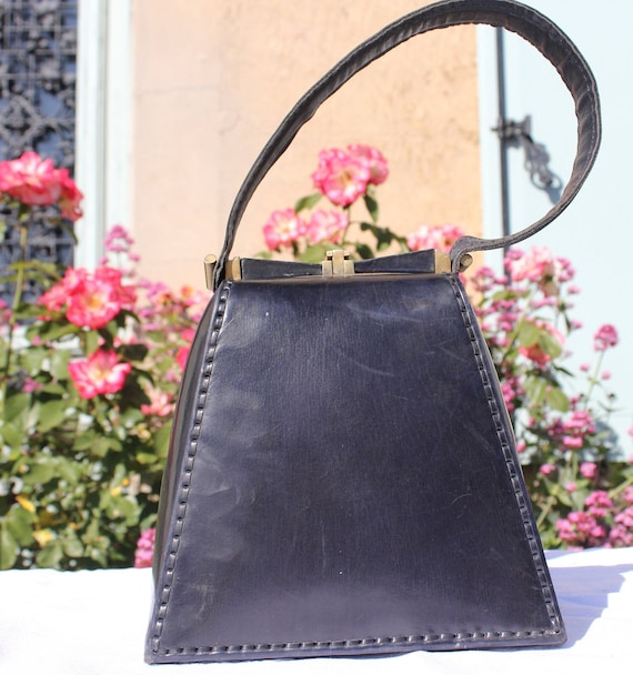 Old Graphic Handbag, 30s and 40s Vintage Art Deco