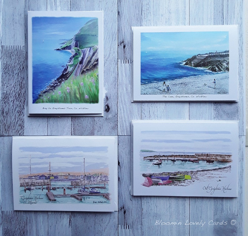 Blank inside Greystones Old Harbour New Marina Greystones Gems Greeting Cards The Cove Bray to Greystones Train Co Wicklow Pack of 4