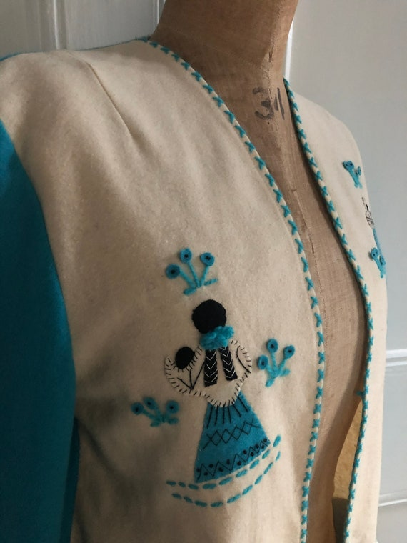 Made in Mexico WOW 1950s 50s Mexican Vintage Hand Embroidered Wool Shirt Jacket