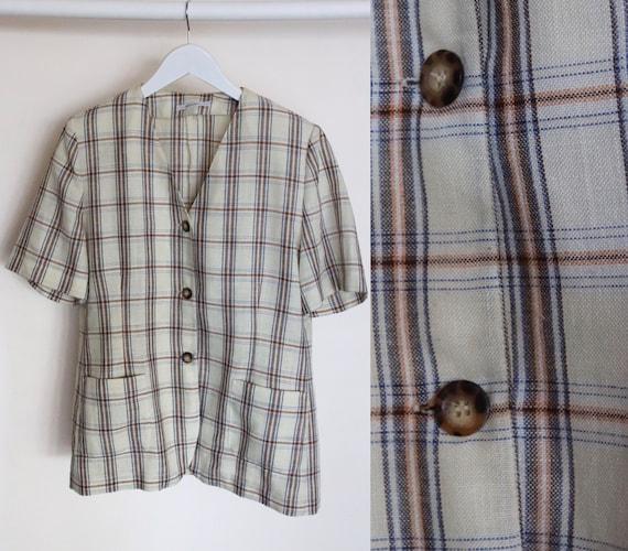 Vintage Beige Check Pattern Shirt, 90s Linen Like