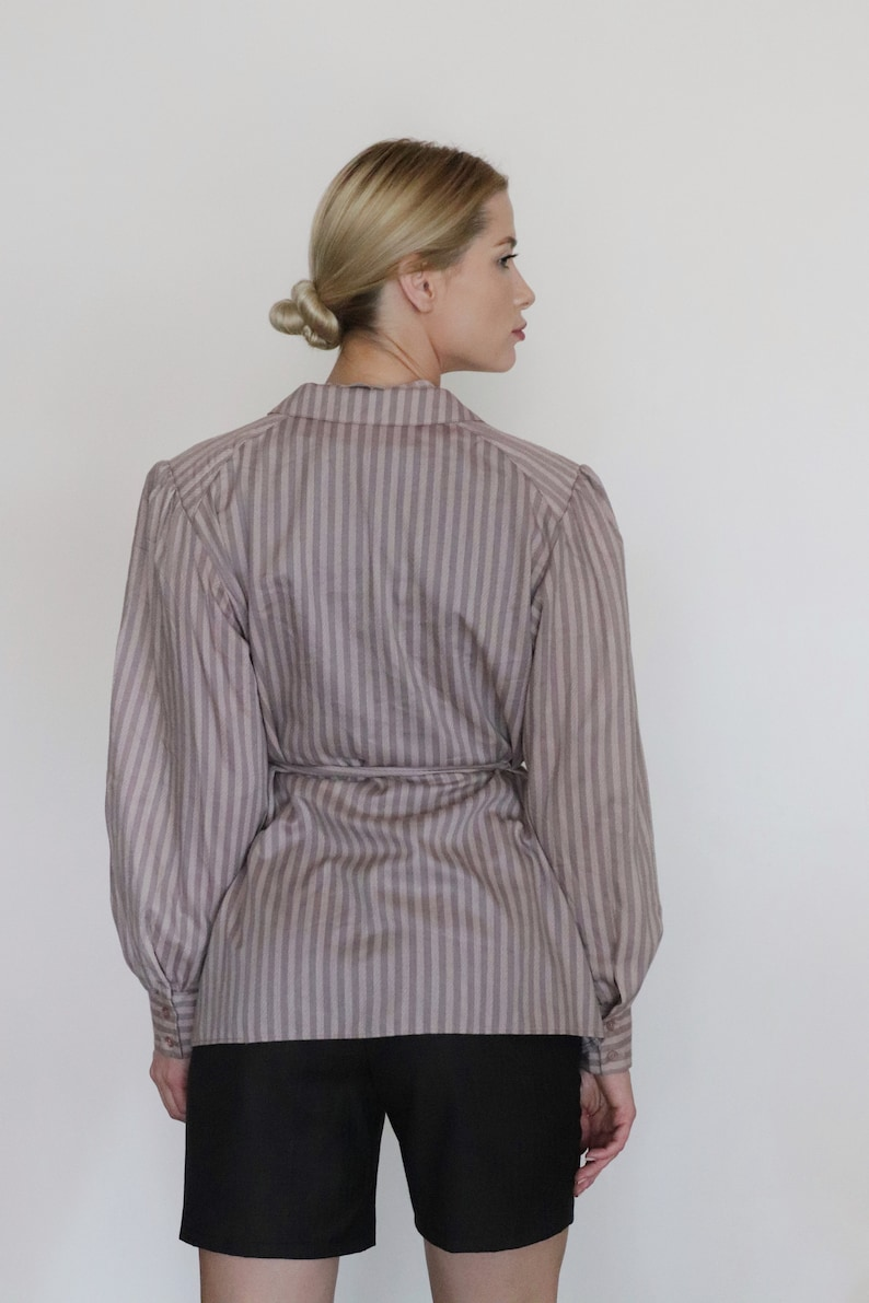 Puff blouse Rose gold with stipes Vintage Puff Sleeve Striped Pink Blouse With Belt 90s stripedBeige blouse