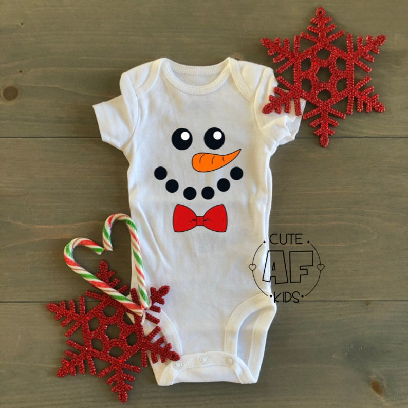 Xmas Christmas bowtie baby clothes snow 2020 Baby babies bodysuit Winter holidays cute holiday kids Snowman