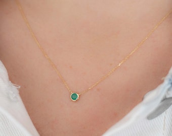 Gold Emerald Necklace, 10k Yellow Gold Necklace With Emerald, May Birthstone Necklace, Yellow Gold Necklace, Emerald Necklace, Gold Necklace