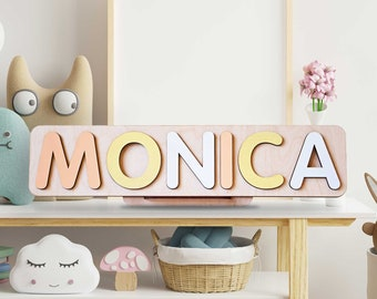 Wooden Name Puzzle, 1st Birthday Gift, Product for Toddlers, Pastel Name Puzzle, Baby's First Christmas, Personalized Name Puzzle