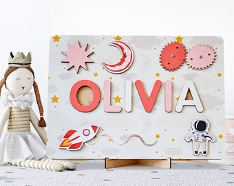 Name Puzzle Busy Board, Personalized Baby Gift, Wooden Christmas Gift, Wooden Name Puzzle, Montessori Board, 1st Birthday Gift, Busy Board