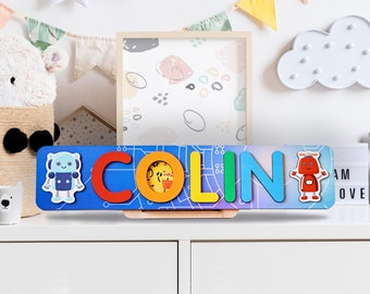 Wooden Name Puzzle for Gift, Personalized Name Puzzle, Kids Game Board for Gift, Gift for Toddler, 1st Birthday Gift, Nursery Decor