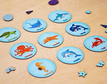 Educational Puzzles, Wooden Puzzles with Sea Animals, Educational Puzzles for Children, Preschool Preparation, 3-part Puzzles for a Gift