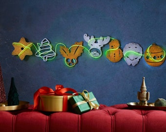 Trendy Christmas Wall Decor with Wooden Garland, Wooden Christmas Decorations with Neon, New Year Decor, Marry Christmas Art for Wall