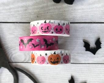 Spooky Pink Washi tape, pumpkins, bats, pink, orange, bujo, bullet journal