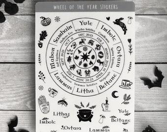 Wheel of The Year, 1 Sticker Sheet: black and white, transparent, Pagan, Seasons, Wiccan, Sabbats, Yule, samhain, zodiac, holiday