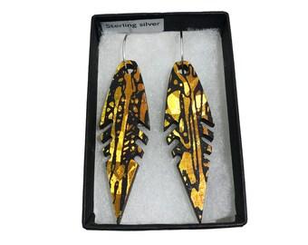 Feather Earrings - Holographic Orange Amber - Wooden Eco-friendly Earrings - Iridescent Wood Earrings - Hoop Dangle & Drop Earrings