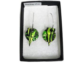 Wooden Layered Earrings - Holographic Green Citrus - Eco-friendly Earrings - Holographic Earrings - Layered Hoop Dangle & Drop Earrings