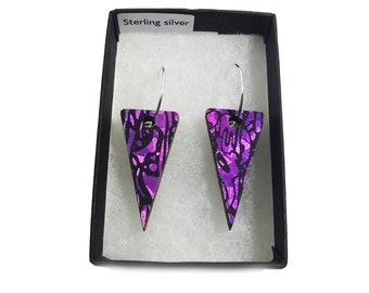 Wooden Triangle Earrings - Holographic Rose Quartz - Eco-friendly Earrings - Iridescent Earrings - Small Triangle Dangle & Drop Earrings