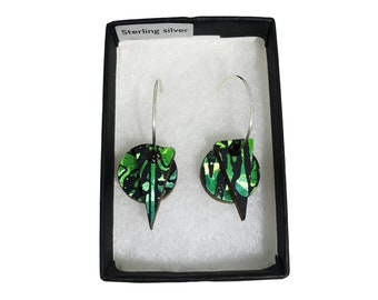 Wooden Layered Earrings - Holographic Green Emerald - Eco-friendly Earrings - Holographic Earrings - Layered Hoop Dangle & Drop Earrings