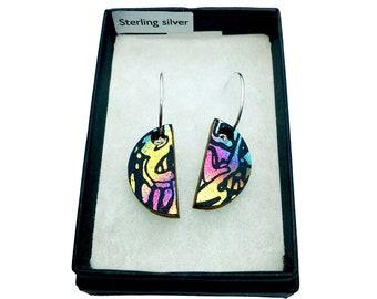 Wooden Semicircle Earrings - Metallic Rainbow - Eco-friendly Earrings - Iridescent Wooden Earrings - Small Semicircle Dangle & Drop Earrings