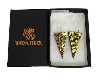 Wooden Triangle Earrings - Holographic Orange Amber Gold - Ecofiendly Earrings - Iridescent Earrings - Small Triangle Dangle & Drop Earrings
