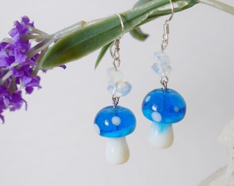 925 Sterling Silver Hooks Blue Glass MushroomToadstool Earrings with Lapis Lazuli Crystals Cottagecore Style