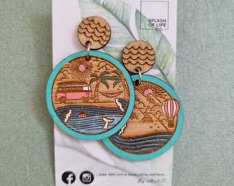 Natures Playground Earrings - Timber earrings - Beach vibes - camping - combi - hammock - Lightweight - Dangle earrings - Surgical steel