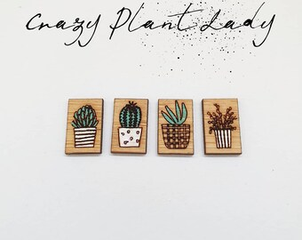 Bamboo stud Earrings - Timber earrings - Timber studs - Bamboo - Laser Cut - Handpainted - Lightweight - plant - Crazy Plant lady