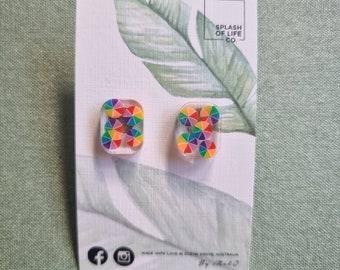 Art Earrings - Resin art - resin earrings - lightweight - round rectangle studs - stud earring - surgical steel - Colour wheel earrings