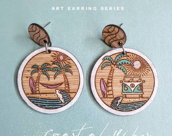 Natures Playground Earrings - Timber earrings - Beach lover - Coastal vibes - Surfer chick  Lightweight - Dangle earrings - Surgical steel