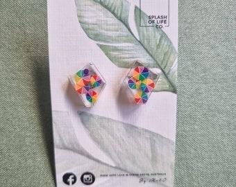 Art Earrings - Resin art - resin earrings - lightweight - geometric studs - stud earring - surgical steel posts - Colour wheel earrings